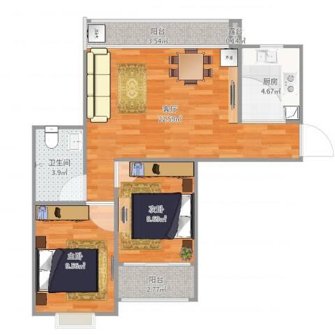 莲花湖小区2室1厅1卫1厨70.00㎡户型图