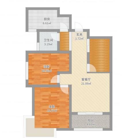 清华苑2室2厅1卫1厨84.00㎡户型图