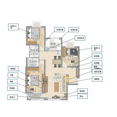 瑞府3室1厅2卫1厨94.00㎡户型图