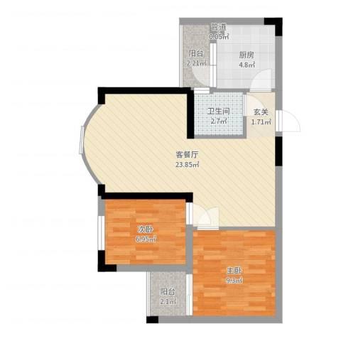 金科丽苑2室2厅1卫1厨65.00㎡户型图
