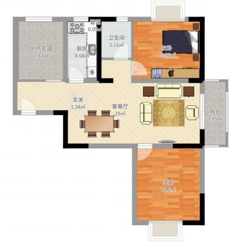 隆昊昊博园2室2厅1卫1厨90.00㎡户型图