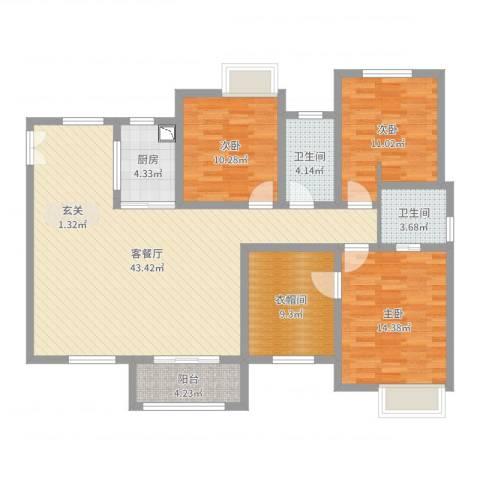 融创凡尔赛3室2厅2卫1厨131.00㎡户型图