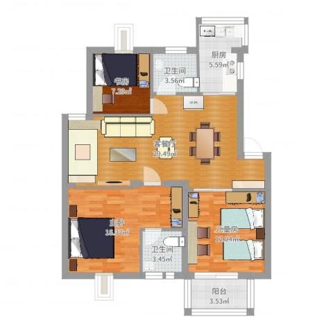 漾河公寓3室2厅2卫1厨103.00㎡户型图