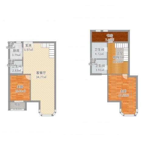 跃界3室2厅3卫1厨124.00㎡户型图