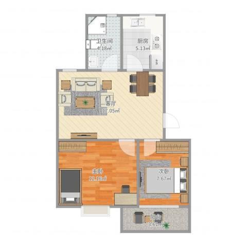 金叶花园2室1厅1卫1厨62.00㎡户型图