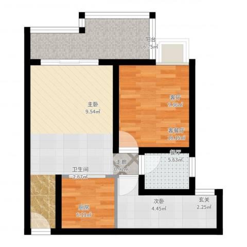 蒸阳御笔华章2室2厅1卫1厨60.00㎡户型图