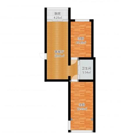 百合山庄2室2厅1卫1厨95.00㎡户型图