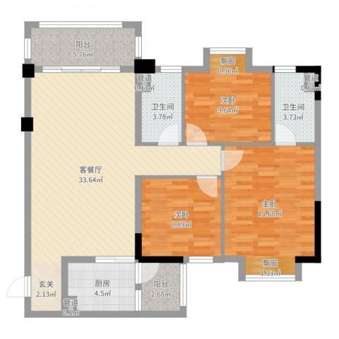 云浮碧桂园3室2厅2卫1厨111.00㎡户型图