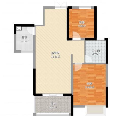 罗马假日2室2厅1卫1厨85.00㎡户型图