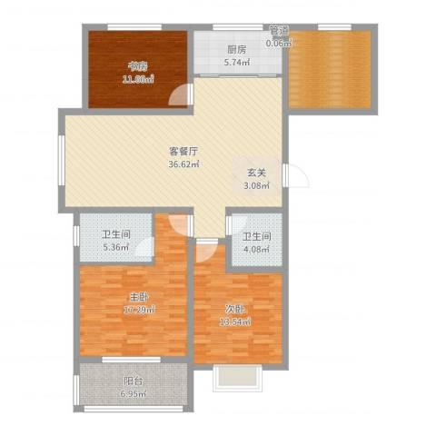 金如意花园二期3室2厅2卫1厨139.00㎡户型图