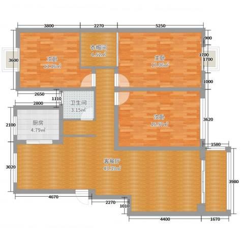 金色水岸3室2厅1卫1厨135.00㎡户型图