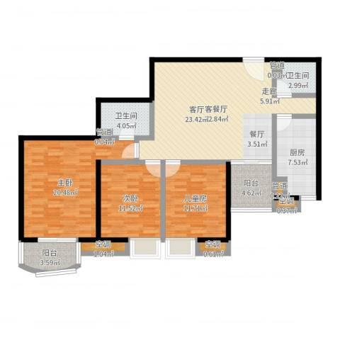 欧园北欧印象3室2厅2卫1厨127.00㎡户型图