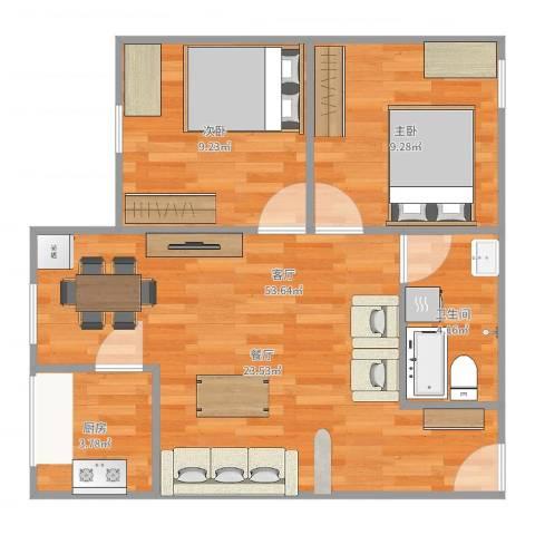 金兴花园2室1厅1卫1厨62.00㎡户型图