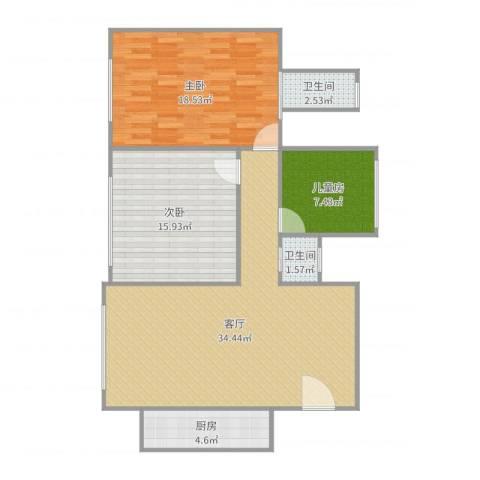 红河枫景3室1厅2卫1厨106.00㎡户型图
