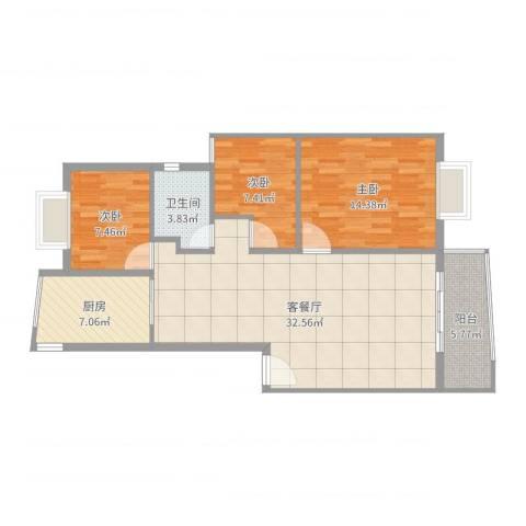 风和日丽二期3室2厅1卫1厨98.00㎡户型图