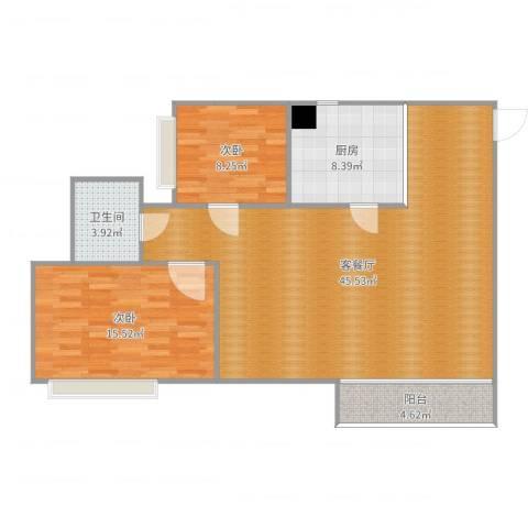 新世纪花园2室2厅1卫1厨108.00㎡户型图
