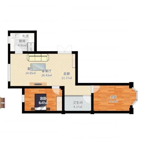 枫桥河畔2室2厅1卫1厨71.00㎡户型图