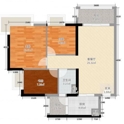 丽江如英居3室2厅1卫1厨93.00㎡户型图