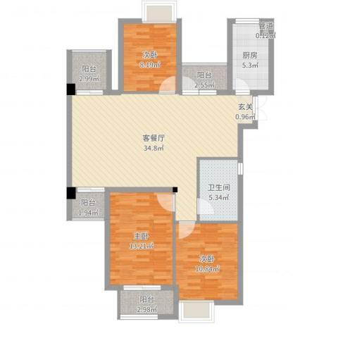 清江人家3室2厅1卫1厨110.00㎡户型图