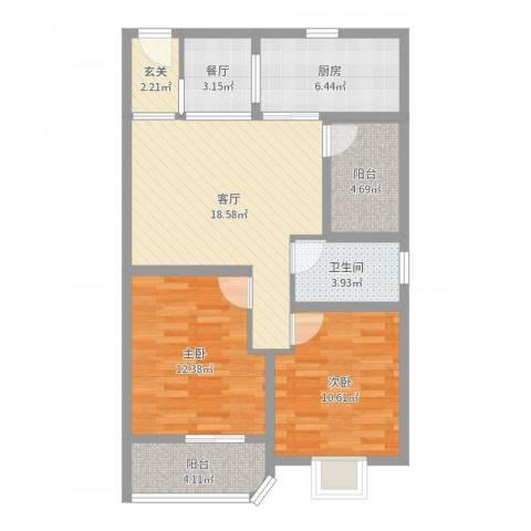 文屏山庄2室2厅1卫1厨83.00㎡户型图