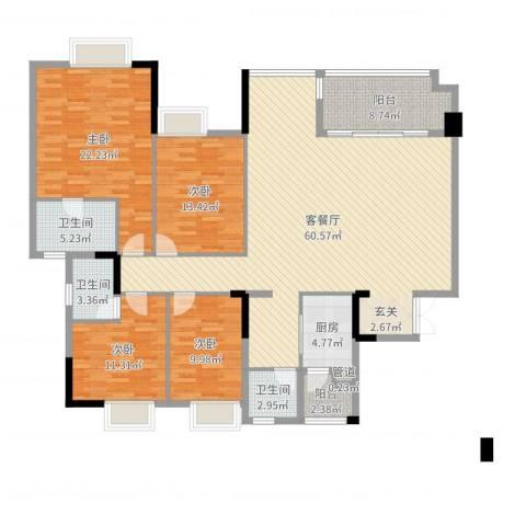 万科西街庭院4室2厅3卫1厨181.00㎡户型图
