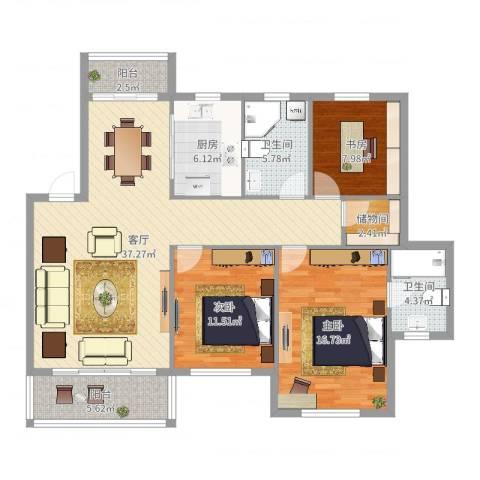 华丰星城3室1厅2卫1厨125.00㎡户型图