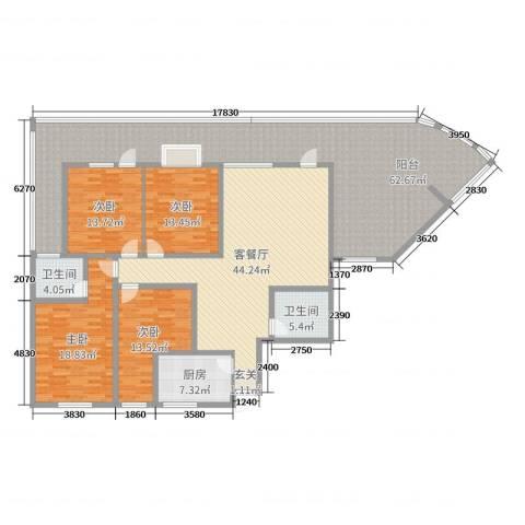 宏明大厦4室2厅2卫1厨183.22㎡户型图