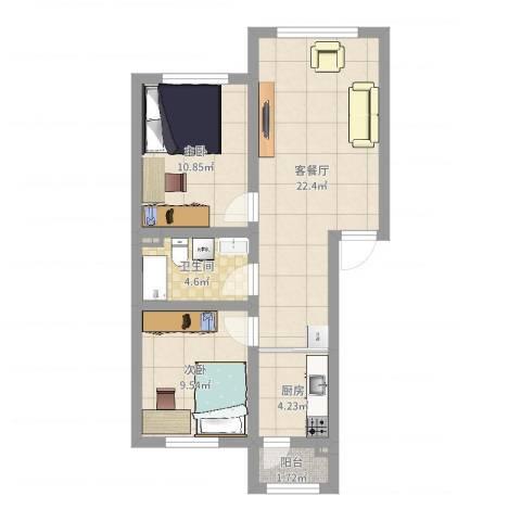 法兰之香2室2厅3卫1厨67.00㎡户型图