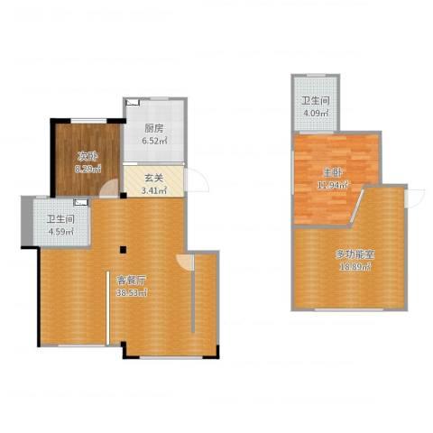 钰桥中央庭院2室2厅2卫1厨120.00㎡户型图