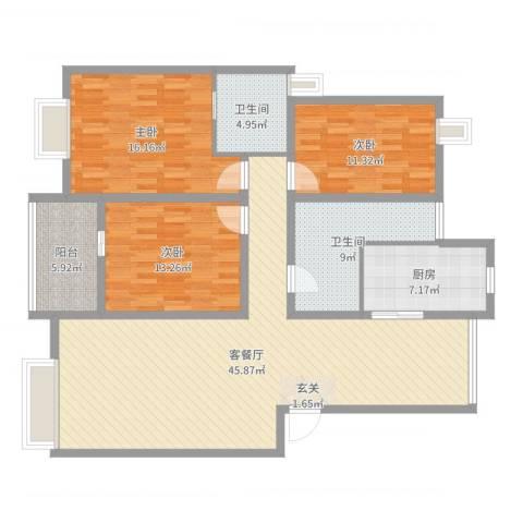 山水人家3室2厅2卫1厨142.00㎡户型图