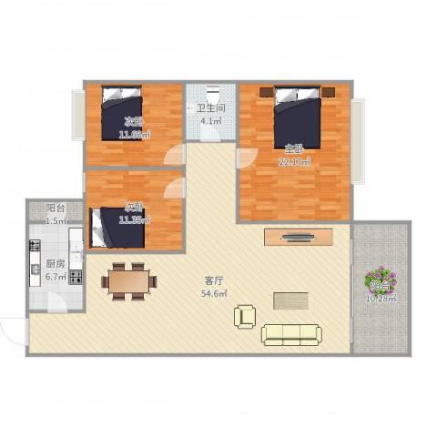 汇雅花园3室1厅1卫1厨153.00㎡户型图