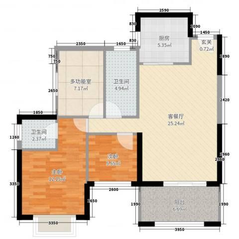 盛世华庭2室2厅2卫1厨91.00㎡户型图