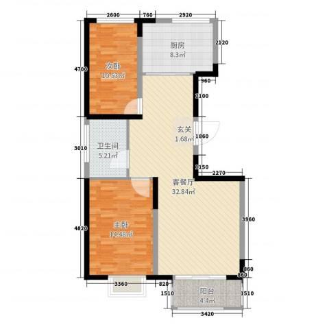 天久一品2室2厅1卫1厨95.00㎡户型图