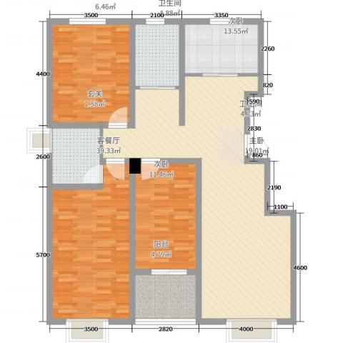 教授花园三期小高层3室2厅2卫1厨130.00㎡户型图