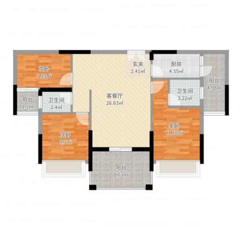 宁海尚峰3室2厅2卫1厨100.00㎡户型图
