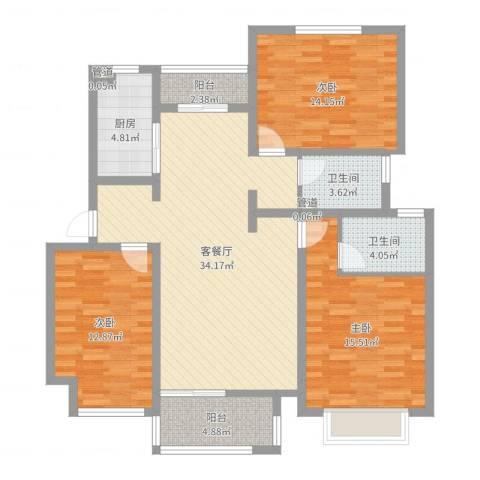 东郊小镇第三街区3室2厅2卫1厨121.00㎡户型图