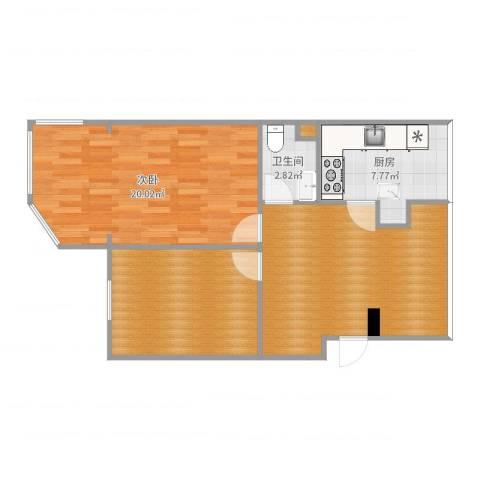 丽园C区1室1厅1卫1厨77.00㎡户型图