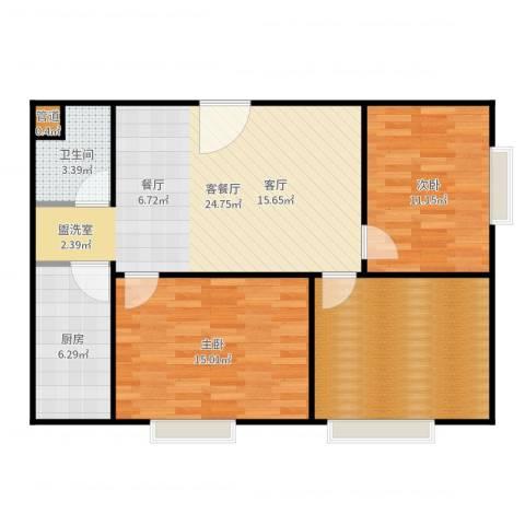 颐美会现代城2室2厅1卫1厨93.00㎡户型图