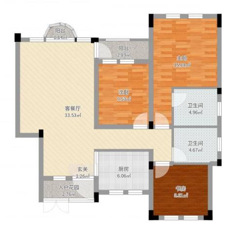九江国际湾3室2厅2卫1厨112.00㎡户型图