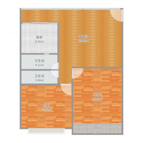 千禧园5022室2厅2卫1厨113.00㎡户型图