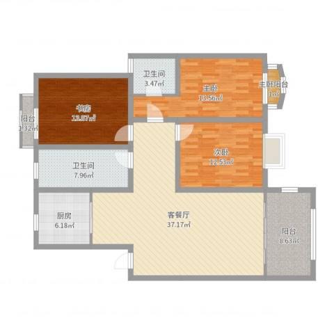 聚景苑3室2厅2卫1厨132.00㎡户型图