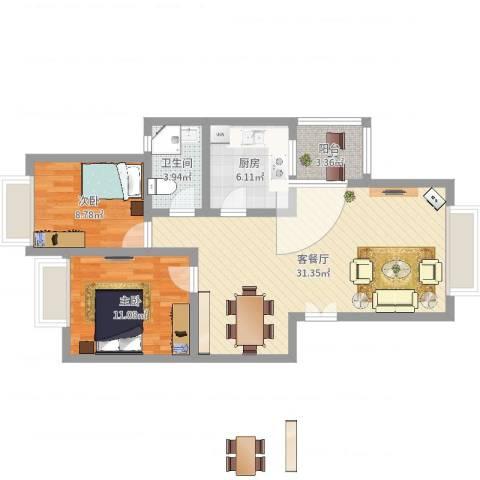 兴隆城市花园怡水园2室2厅1卫1厨81.00㎡户型图