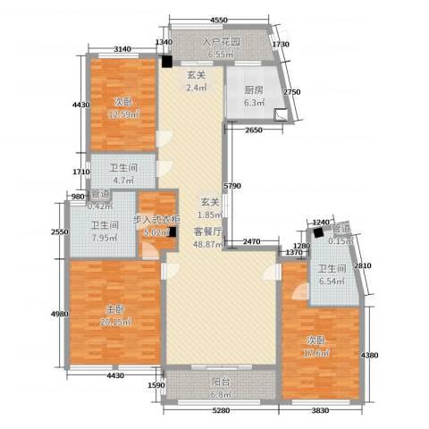 太守名府3室2厅3卫1厨180.00㎡户型图