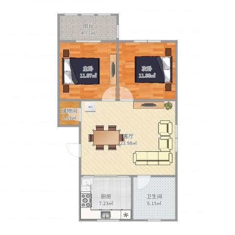团结新村2室1厅1卫1厨82.00㎡户型图