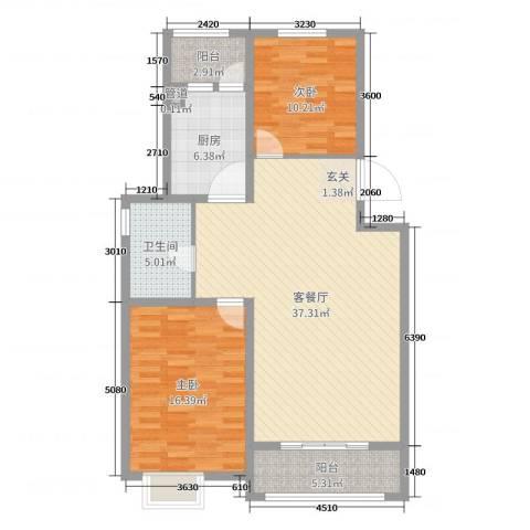 颐和文园2室2厅1卫1厨107.00㎡户型图