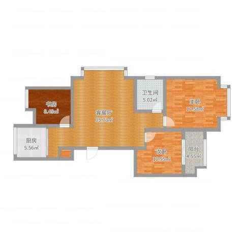 金都华府3室2厅1卫1厨110.00㎡户型图