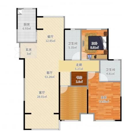 观湖壹号3室1厅2卫1厨130.00㎡户型图