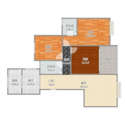 湖滨花园3室2厅2卫1厨114.00㎡户型图