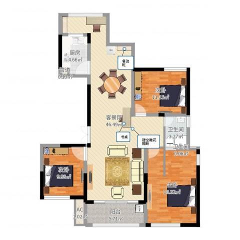 杰仕豪庭3室2厅4卫1厨126.00㎡户型图