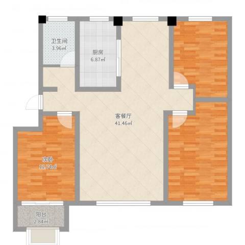 金辰香溪丽舍1室2厅1卫1厨118.00㎡户型图